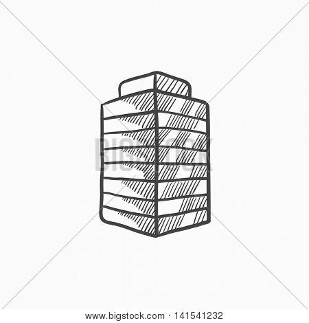 Office building vector sketch icon isolated on background. Hand drawn Office building icon. Office building sketch icon for infographic, website or app.