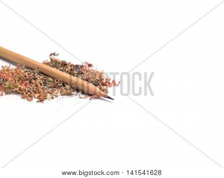 brown pencil with pencil sawdust isolated on white background