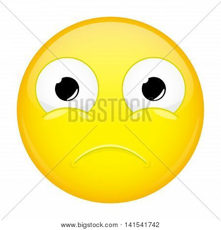 Unpleasantly surprised emoji. Sorrow emotion. Hurt emoticon. Vector illustration smile icon.