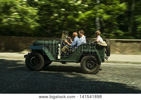 Lviv Ukraine - June 13 2015:Old retro car GAZ- 67 taking participation in race Leopolis grand prix 2015 Ukraine.