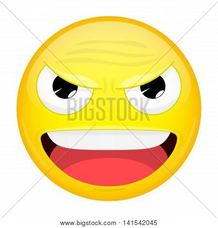 Evil emoji. Happy emotion. Laugh emoticon. Vector illustration smile icon.