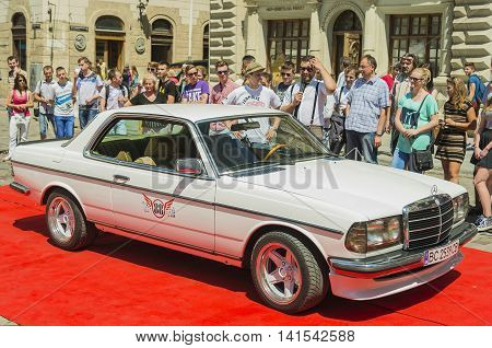 Lviv Ukraine - June 12 2015:Old retro car Mercedes Benz CE 230 exhibited for participation in festival Leopolis grand prix 2015 Ukraine.