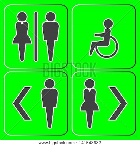 Male and female toilet icons set on green background.