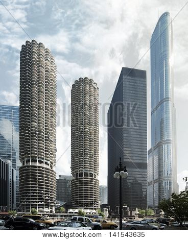 Skyscrapers in downtown Chicago. Chicago skyline, USA
