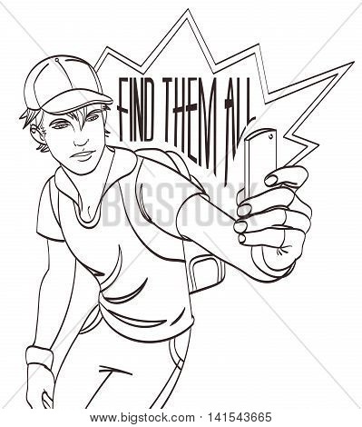 Sportsman with smartphone vector picture. Lineart eps 10