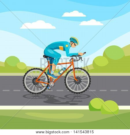 Cycle racing man rides a bicycle vector