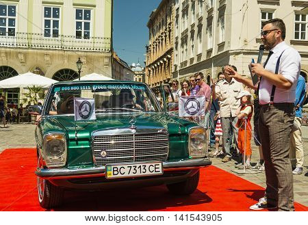Lviv Ukraine - June 12 2015:Old retro car Mercedes Benz 115 exhibited for participation in festival Leopolis grand prix 2015 Ukraine.