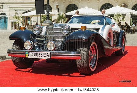 Lviv Ukraine - June 12 2015:Old retro car exhibited for participation in festival Leopolis grand prix 2015 Ukraine.