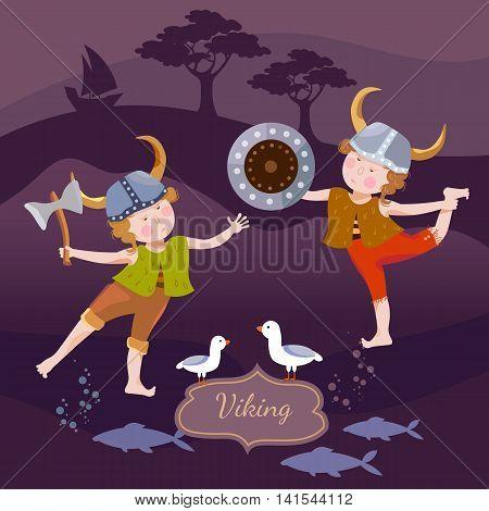 Vikings children cartoon vector set kids vikings