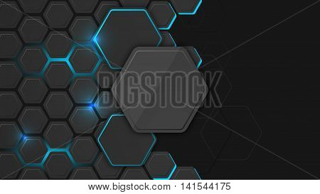 Abstract background or pc desktop wallpaper. Vector illustration with hexagonal structure and backlighting.