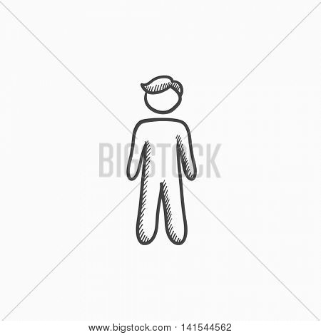 Businessman standing vector sketch icon isolated on background. Hand drawn Businessman standing icon. Businessman standing sketch icon for infographic, website or app.