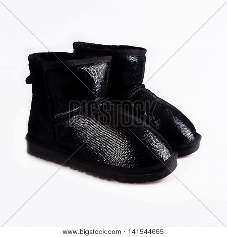 Womens Sheepskin boots isolated on white background