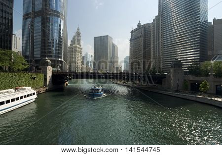 Chicago river in business district at downtown Chicago IL USA