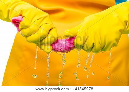 Housewives Hands Squeezed Pink Cloth Microfiber Close-up