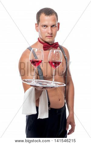 Shirtless Waiter With Two Glasses Of Wine Isolated