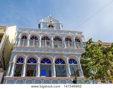 A Classic Blue Plaster Hotel in Curacao