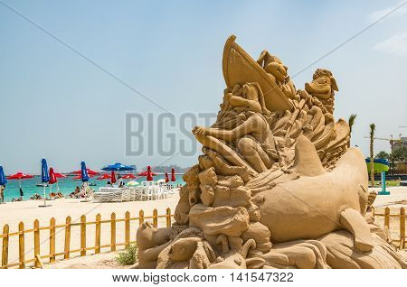 Dubai United Arab Emirates 13 May 2014 Intricate and beautiful sandcastles created on a Dubai beach by Australian Artist  Jenny Rosen