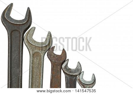 Old Wrench Isolated On White Background