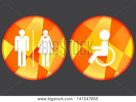 Disable male and female toilet icons set on black background.