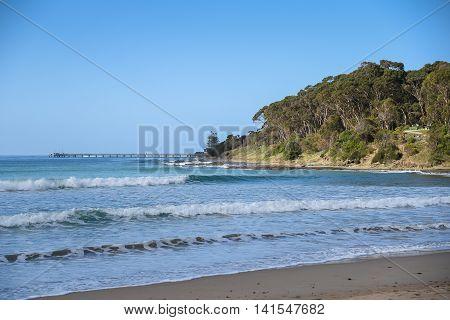 Beautiful sea coastline and blue sky seascape in summer at Lorne beach Victoria Australia