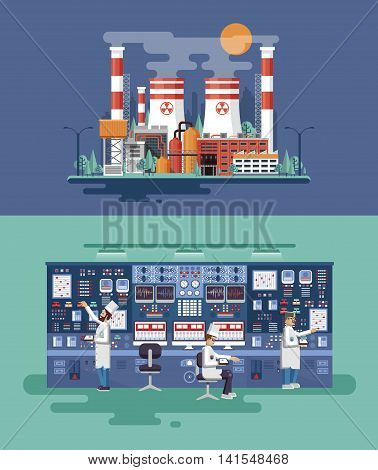 Vector flat illustration interior science base, interior nuclear power plant, technical equipment, scientists, workers NPP, research, development, experiments, data processing, technological progress