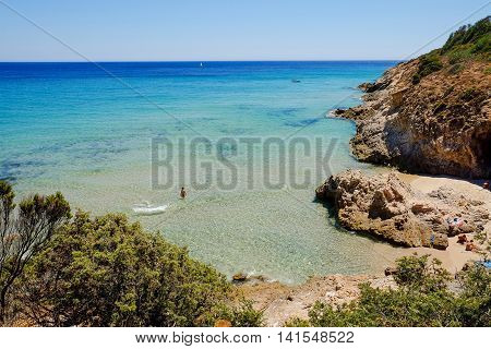 View on the sea and the beach of Pinus Village in Sardinia Italy.