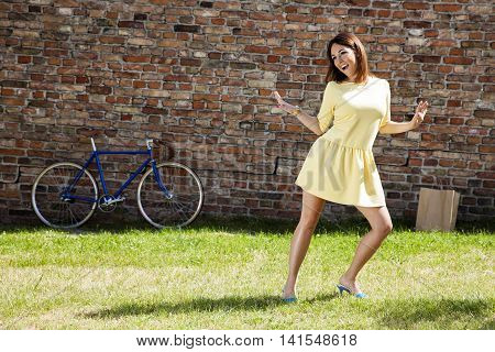 Cheerful Woman In The Park