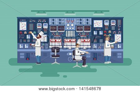 Vector flat illustration interior science base, interior nuclear power plant, technical equipment, scientists, workers NPP, research, development, experiments, technological progress