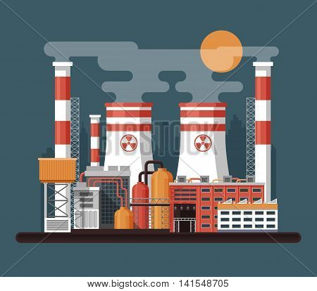 Vector Stock illustration of facade architecture nuclear power plant in flat style, power generation, cooling tower power plant, reactor unit, ventilation pipe, Industrial landscape on dark background