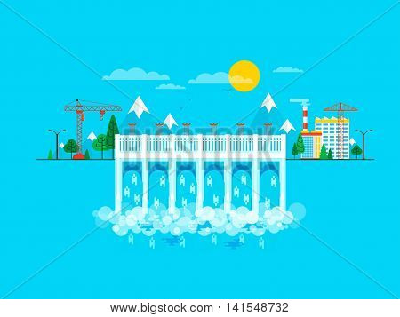 Stock vector illustration of water dam in flat style, water pressure, causeway, barrage bridge, office buildings to control dam, mountains snow-capped peaks, crane metal structures on blue background