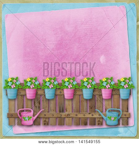 Beautiful Summer Flowers In Pots On  Fence