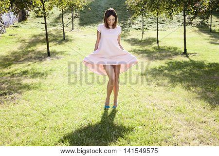 Woman Shows Leg