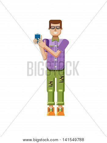 Stock vector illustration isolated of European man in purple checkered shirt, pants, patches, in glasses, man touch screen smartphone by hand, man shows screen of phone, flat style on white background