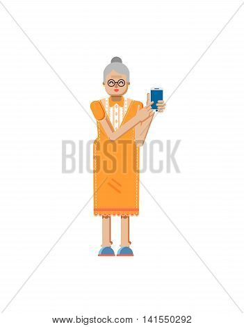 Stock vector illustration isolated of European retiree, elderly woman, white hair, glasses, touch screen smartphone by hand, woman demonstrates screen of phone, flat style on white background