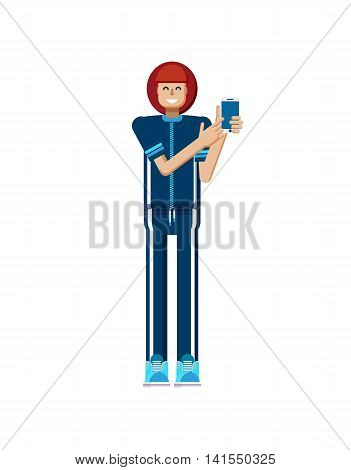 Stock vector illustration isolated of European woman red hair in tracksuit, touches screen, athlete, woman touch screen smartphone by hand, woman shows screen of phone, flat style on white background