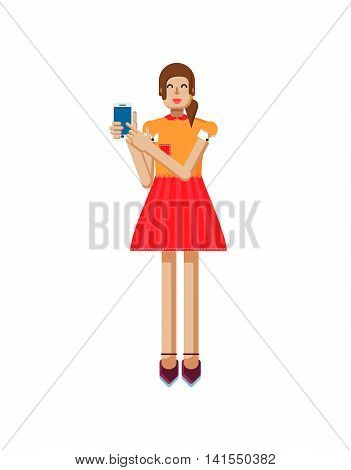 Stock vector illustration isolated of European girl with brown hair in red flared skirt, blouse, touch screen, smartphone in hand, woman demonstrates screen of phone in flat style on white background