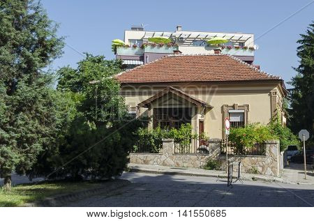 Kyustendil, Bulgaria - June 25, 2016: Residential district of old, contemporary house and new construction together, Kyustendil, Bulgaria. Visit of Kyustendil in summer.