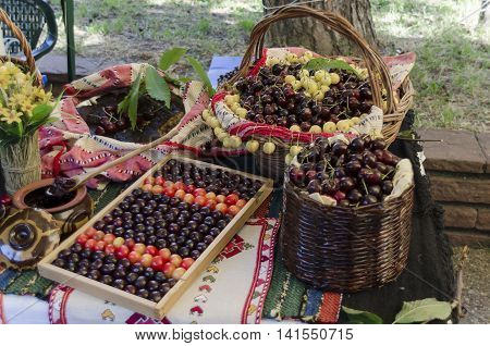 Kyustendil, Bulgaria - June 25, 2016: Feast of cherry fruit in the Kyustendil, presentment out their production raw fruit, tart and jam, Bulgaria. Visit of Kyustendil in summer.