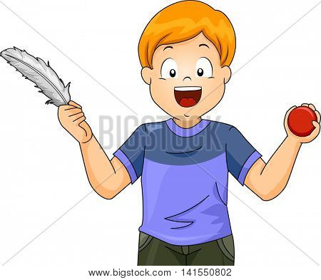 Illustration of a Little Boy Comparing a Ball and a Feather
