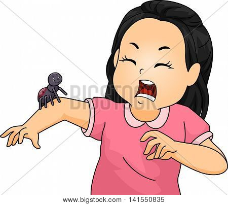 Illustration of a Little Girl Shrieking After Seeing a Spider