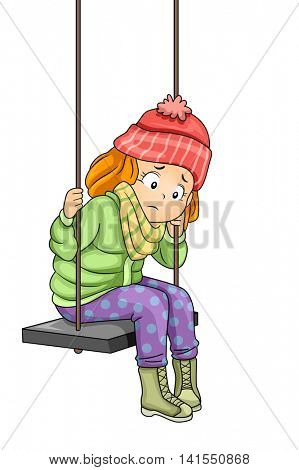 Illustration of a Sad Little Girl Sitting on a Swing