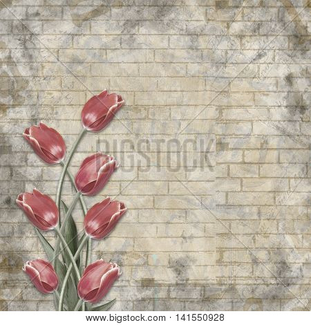 Bouquet Of Beautiful Red Tulips On The Background Of Painted Brick Wall For Congratulation