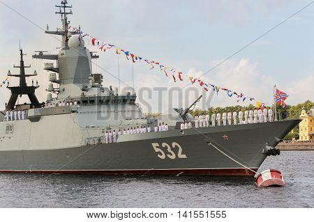 St. Petersburg, Russia - 31 July, Personnel at the bow of the ship, 31 July, 2016. Festive parade of warships on the Neva River in St. Petersburg.