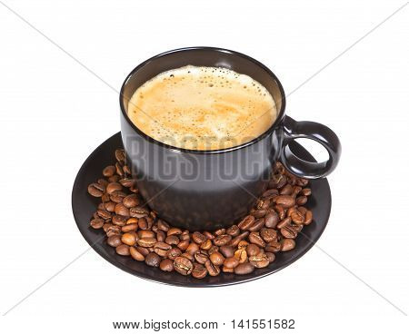 Black cup of coffee with beans isolated on white background with clipping path