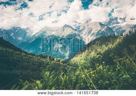 Mountains and forest Landscape in Abkhazia with cloudy sky Summer Travel scenic view