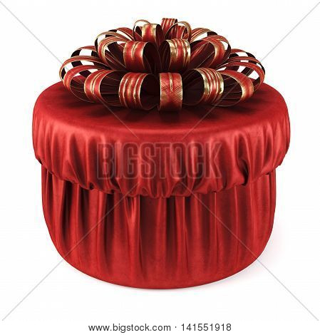 Red gift box with a bow. isolated on white background. 3D illustration.