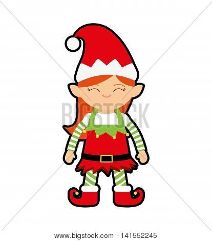 elf cartoon merry christmas celebration icon. Isolated and flat illustration. Vector graphic