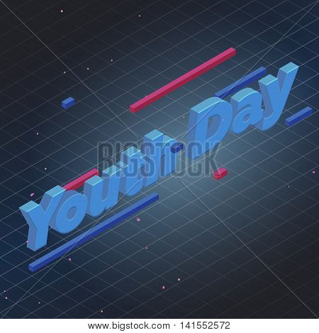Youth day isometric text vector illustration and perspective line