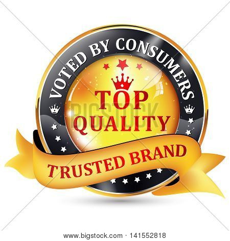 Top quality. Trusted brand. Voted by consumers - - shiny  icon / label / badge.