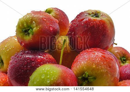 Freshly picked wild apples with water drops isolated on white background